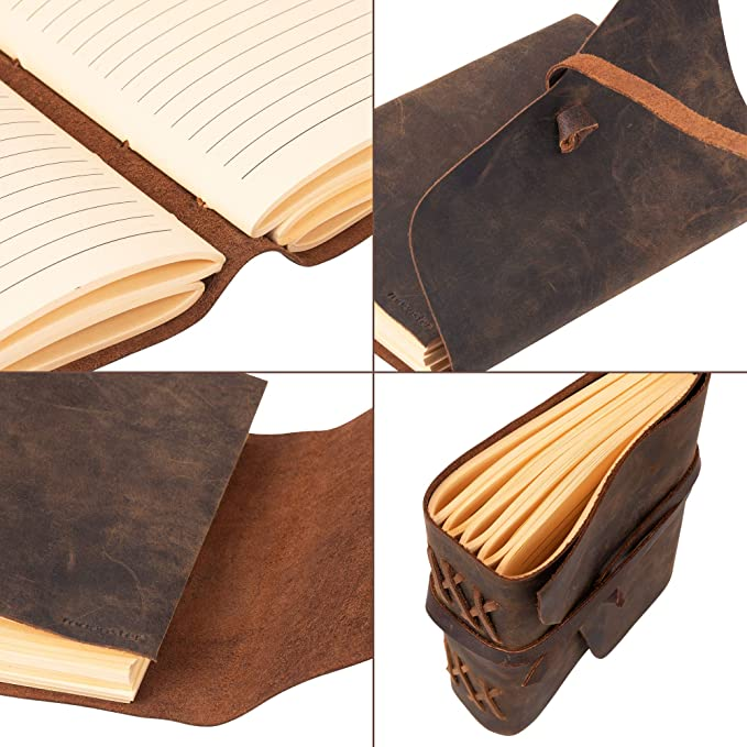 Kraft Paper with 400 Pages Lined Paper College Ruled /& Travel Size 18 x 13 cm Ruled Small Notebooks Leather Journal Lined Notebook Paper Leather Bound Journals for Writing for Women and Men