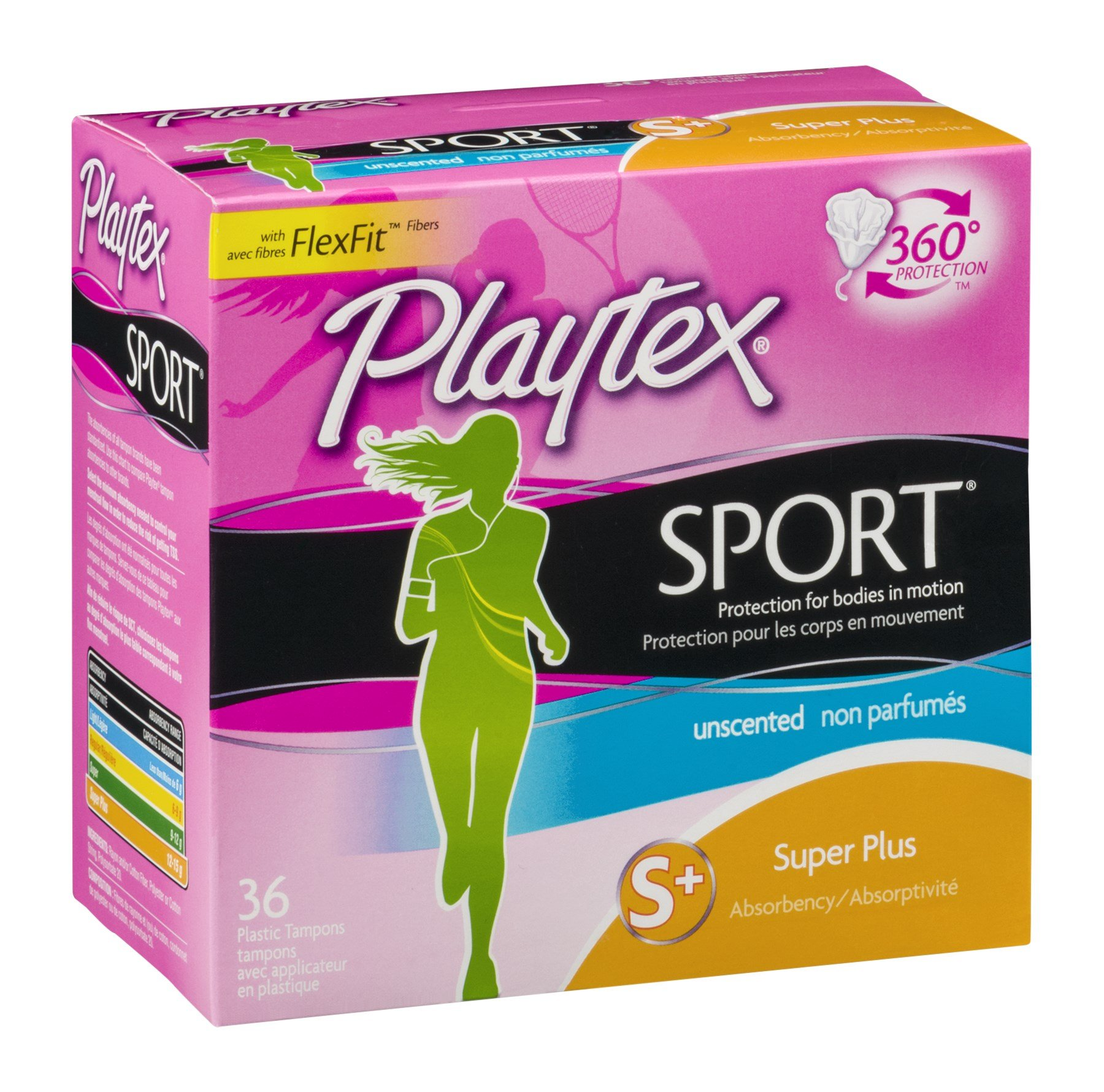 Playtex Sport Unscented Super Tampon 36 Ct, Pack of 9