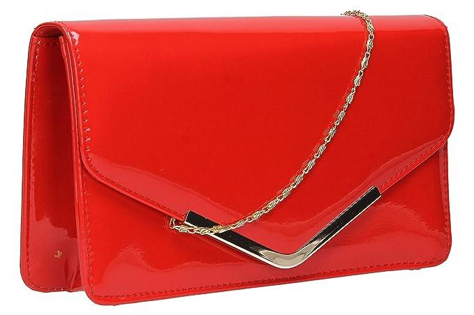 Swankyswans - Cartera de mano de Material Sintético para mujer Rojo rojo: Amazon.es: Zapatos y complementos
