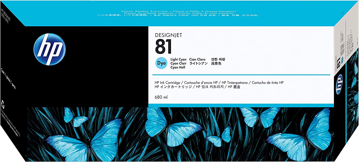 HP 81 C4934A Ink Cartridge for DesignJet 5000 series, 680ml, Light Cyan