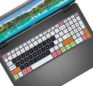 Keyboard Cover for Dell G15 5510 5515, inspiron 15 5501 5502 5505 5508 5509 5584 5593 5594 5598, inspiron 15 7501 7506 i7590 7591, inspiron 17 7706 7791, Latitude 3500 3510 Laptop - White Black