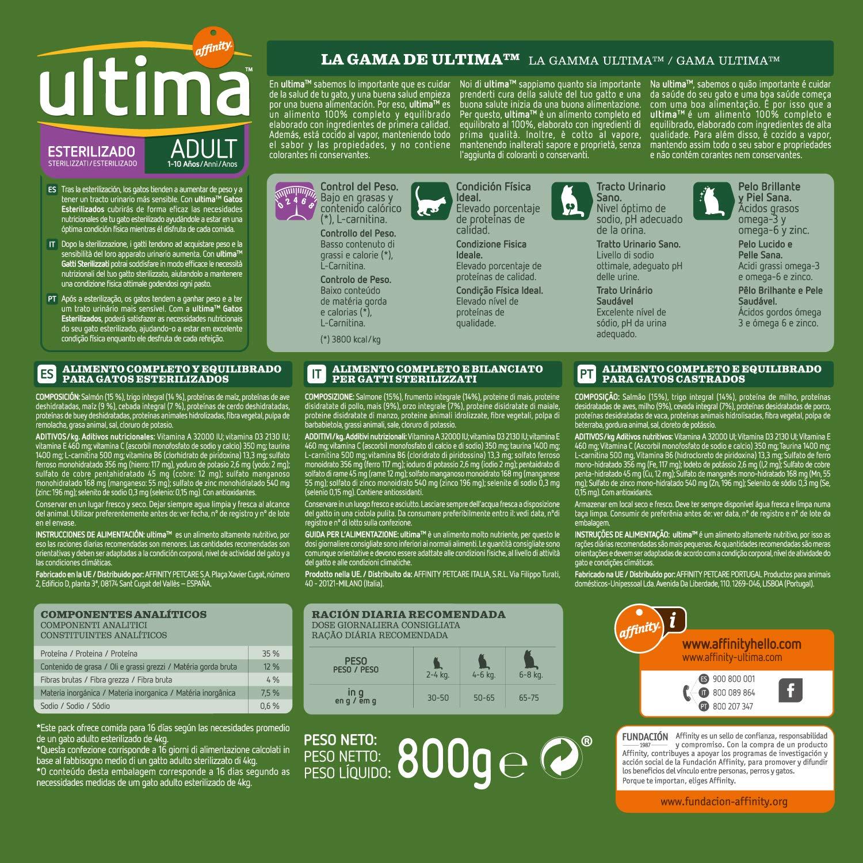 Ultima Pienso para Gatos Esterilizados con Salmón - 800 gr: Amazon ...