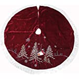 48 Inch Velvet Embroidered Burgundy with Trees Christmas Tree Skirt