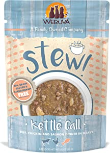 Weruva Classic Cat Stews!, Kettle Call with Beef, Chicken & Salmon in Gravy, 3oz Pouch (Pack of 12)