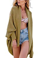 Suimiki Women's Stylish Batwing Knitted Cardigan Loose Sweater Coat Khaki One Size