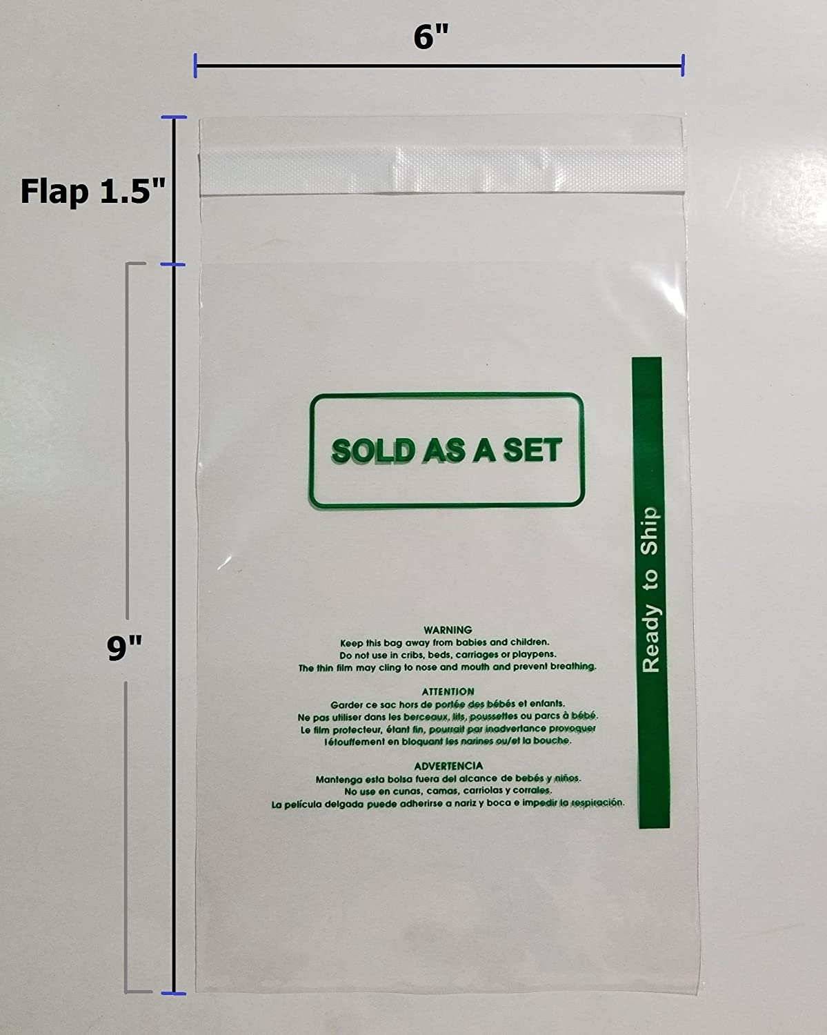 Permanent Self Seal Clear Poly Bags 1.6 mil Self-Seal with Suffocation Warning 1000 Pcs 6x9 PS by UNIQUEPACKING