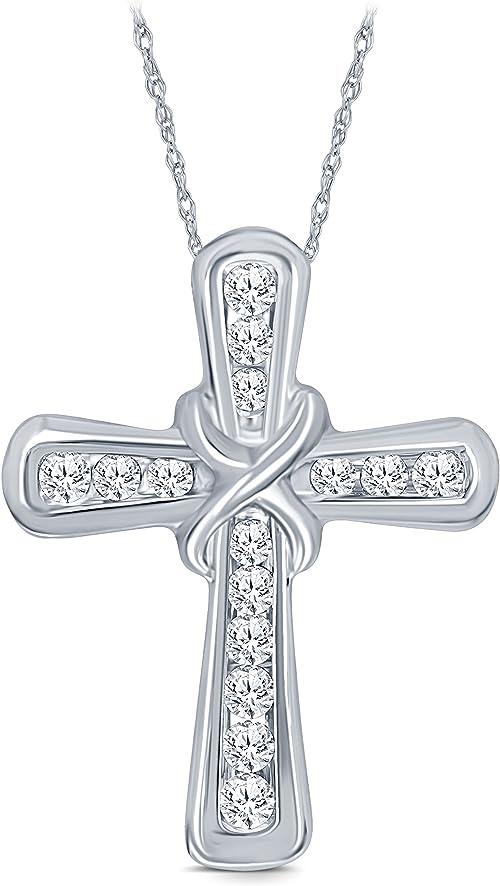1//10 Cttw Round White Natural Diamond 10K White Gold Cross Pendant Easter Gift For Adults La Joya PD