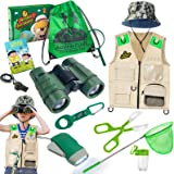 ESSENSON Outdoor Explorer Kit & Bug Catcher Kit with Vest, Binoculars, Magnifying Glass, Butterfly Net, Hat and Backpack Camp