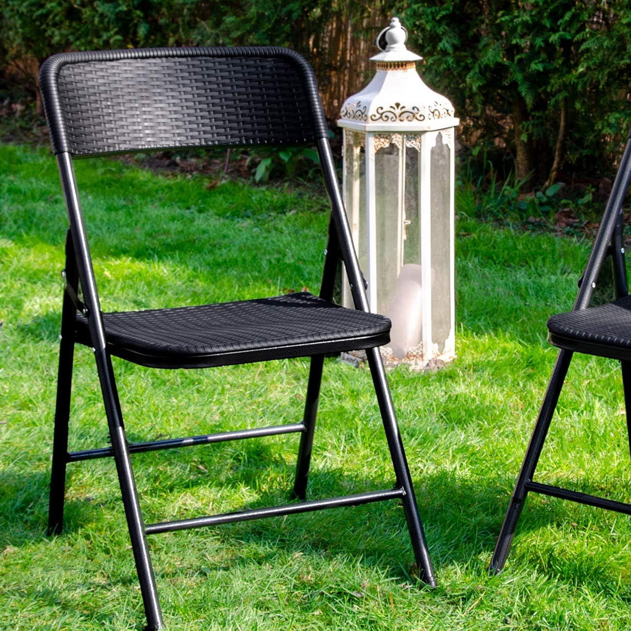 Sedile da Giardino Nero Seduta da Balcone Rattan Look AMANKA 4 Sedie Pieghevoli Fino a 150 kg