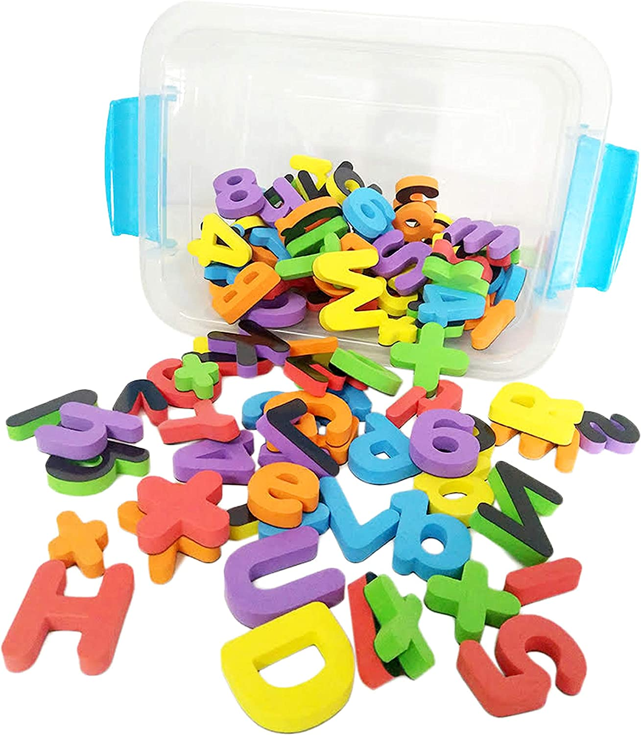 Deke 123 Pieces Magnetic Fridge/Refrigerator Foam Letters (ABC) Numbers and Symbols. Premium Large Foam Magnet Alphabet Number Magnets.for Kids Toddlers Preschool Letter Learning Spelling in Canister
