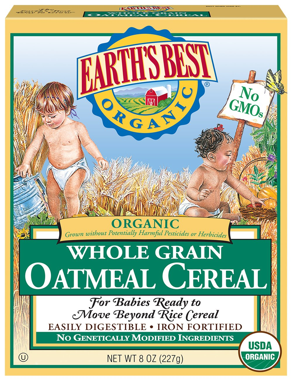 Earth's Best Organic Infant Cereal, Whole Grain Oatmeal, 8 oz. Box (Pack of 12) by Earth's Best