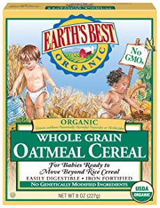 Earth's Best Organic Infant Cereal, Whole Grain Oatmeal Cereal, 8 Oz Box (Pack of 12)