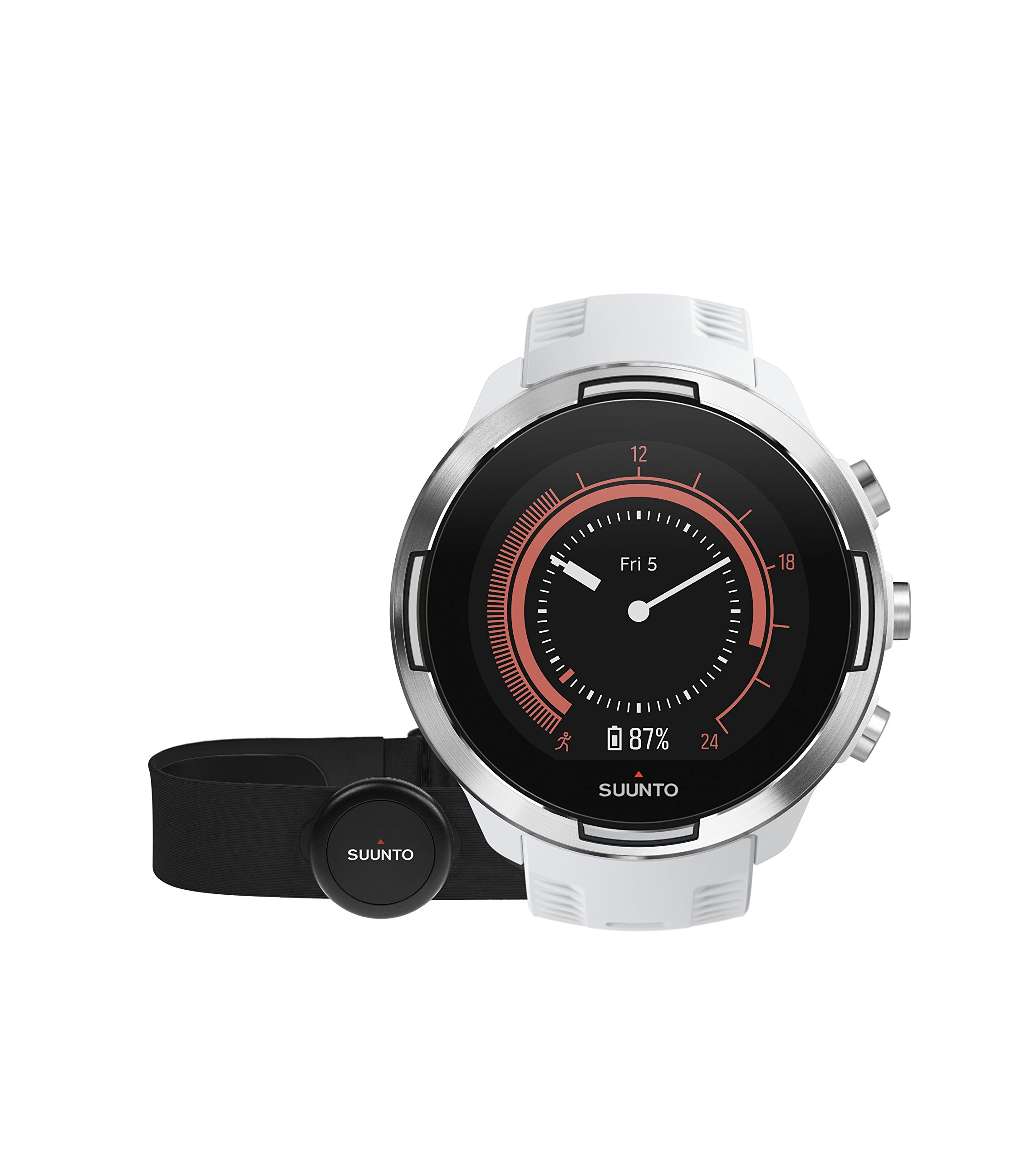 Suunto 9 Multisport GPS Watch with BARO and Wrist-Based Heart Rate (White with HR Belt)