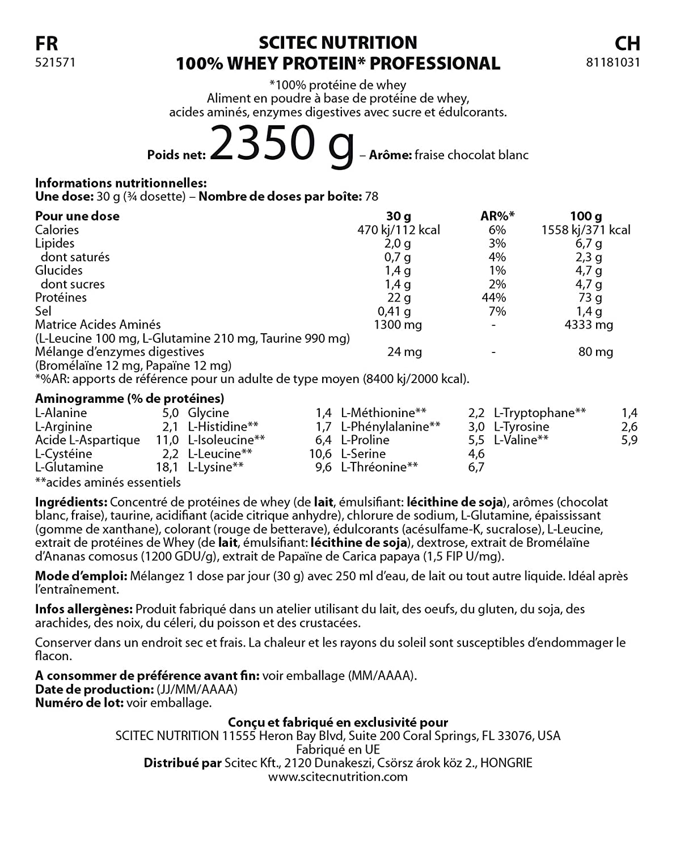 Scitec Nutrition 25606 - Proteína profesional de suero, 2350g