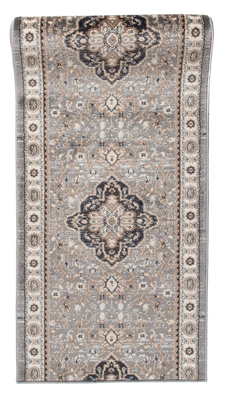 Läufer Teppich Flur in Grau - Orientalisch Klassischer Muster - Brücke Läuferteppich nach Maß - 80 cm Breit - AYLA Kollektion von Carpeto  - 80 x 400 cm