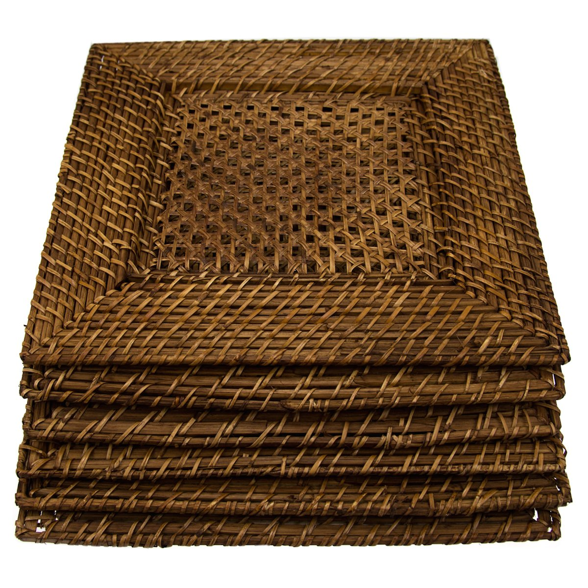 """6 Pack Bamboo & Rattan 14"""" Square Charger Plates By Malacca Elements Dinner Servers"""