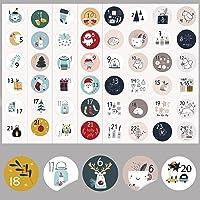 HERZWILD Adventskalender Numbers Stickers 10 sets Kerst Stickers Kerst Motieven Zelfklevende Advent Numbers 1-24 voor…