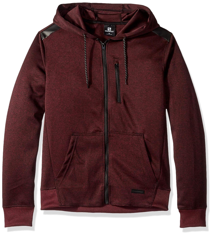 Mr Burgundy Tech Large Southpole Mens Marled Tech Fleece Full Zip Hoodie Hooded Sweatshirt