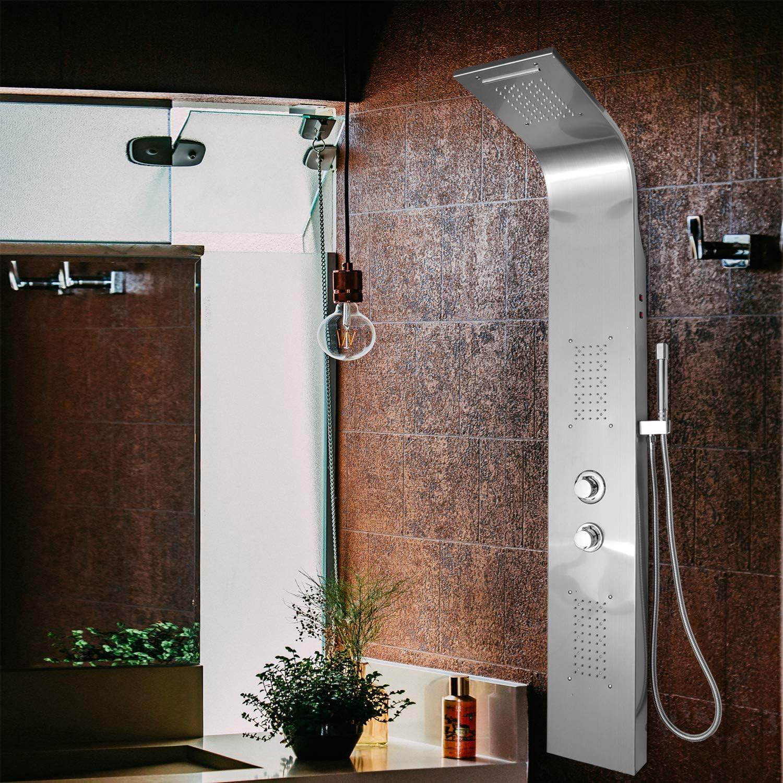 HENGDA Panel de ducha con Iluminación LED, cascada y ducha de lluvia, Chorros de masaje e Ducha de mano Acero Inoxidable Sistema (con iluminación LED): Amazon.es: Jardín