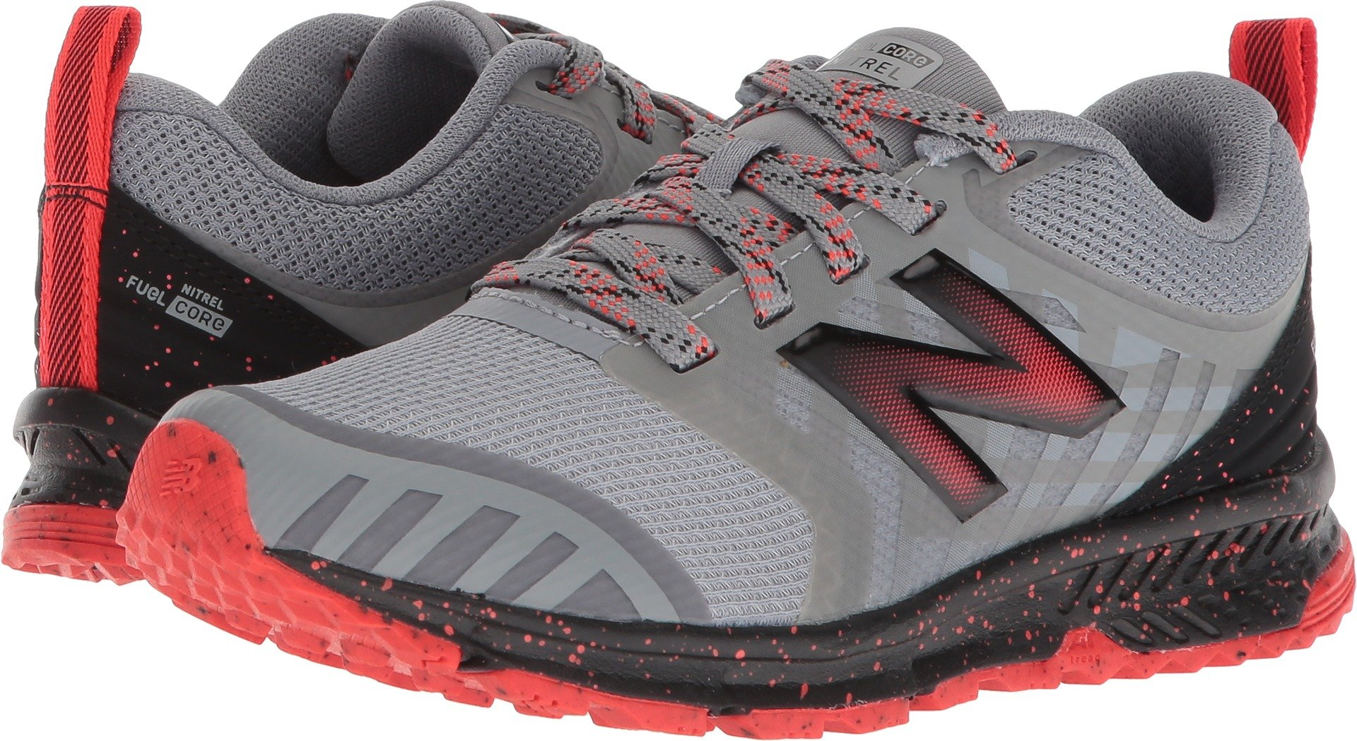 New Balance Boys' Nitrel v3 Trail Running Shoe, Steel/Flame, 11 W US Little Kid