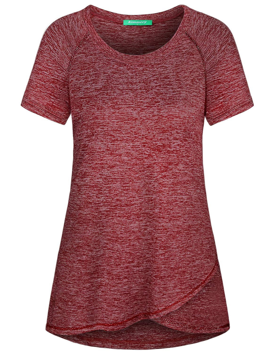 Kimmery Summer Tops for Women, Juniors Feminine Fit Marled Knit Tunic Essential Tee Smooth Lounging Tennis School P.E Class Physical Scoop Shirt Basic Short Sleeve Going Out Stylish Activewear Red M