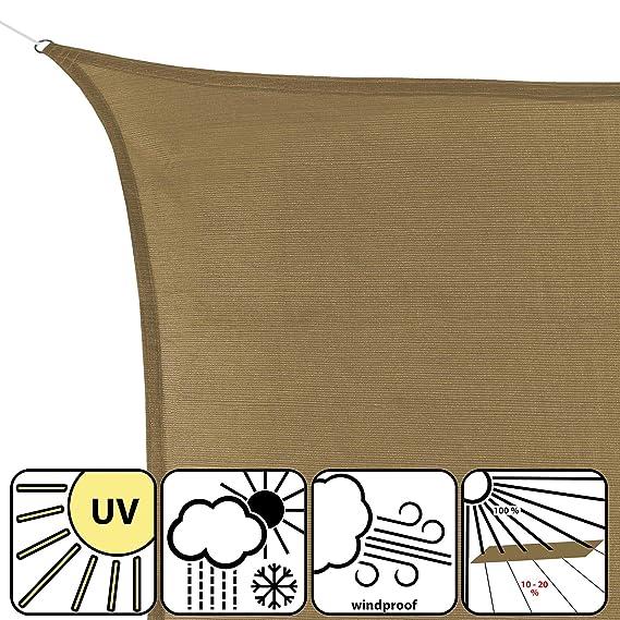 BB Sport Toldo Vela 3.5m x 3.5m x 4.95 m Capuchino Triangular HDPE Vela Sombra Protección Rayos UV 90% Transpirable: Amazon.es: Jardín