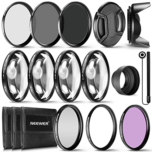 Neewer® 58MM Complete Lens Filter Accessory Kit for Lenses with 58MM Filter Size: UV CPL FLD Filter Set + Macro Close Up Set (+1 +2 +4 +10) + ND Filter Set (ND2 ND4 ND8) + Other