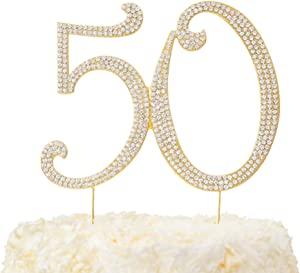LOVENJOY Gift Boxed 50 Rhinestone Cake Topper Gold