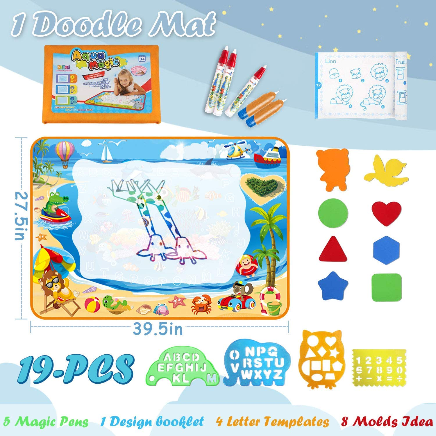 Aqua Doodle Mat Gift Set Extra Large Size 38.4X29.5 Reusable Multi-Color Water Coloring Drawing Toy with 3 Water pens and Painting Tools for Kids to Enjoy Together Markbetter
