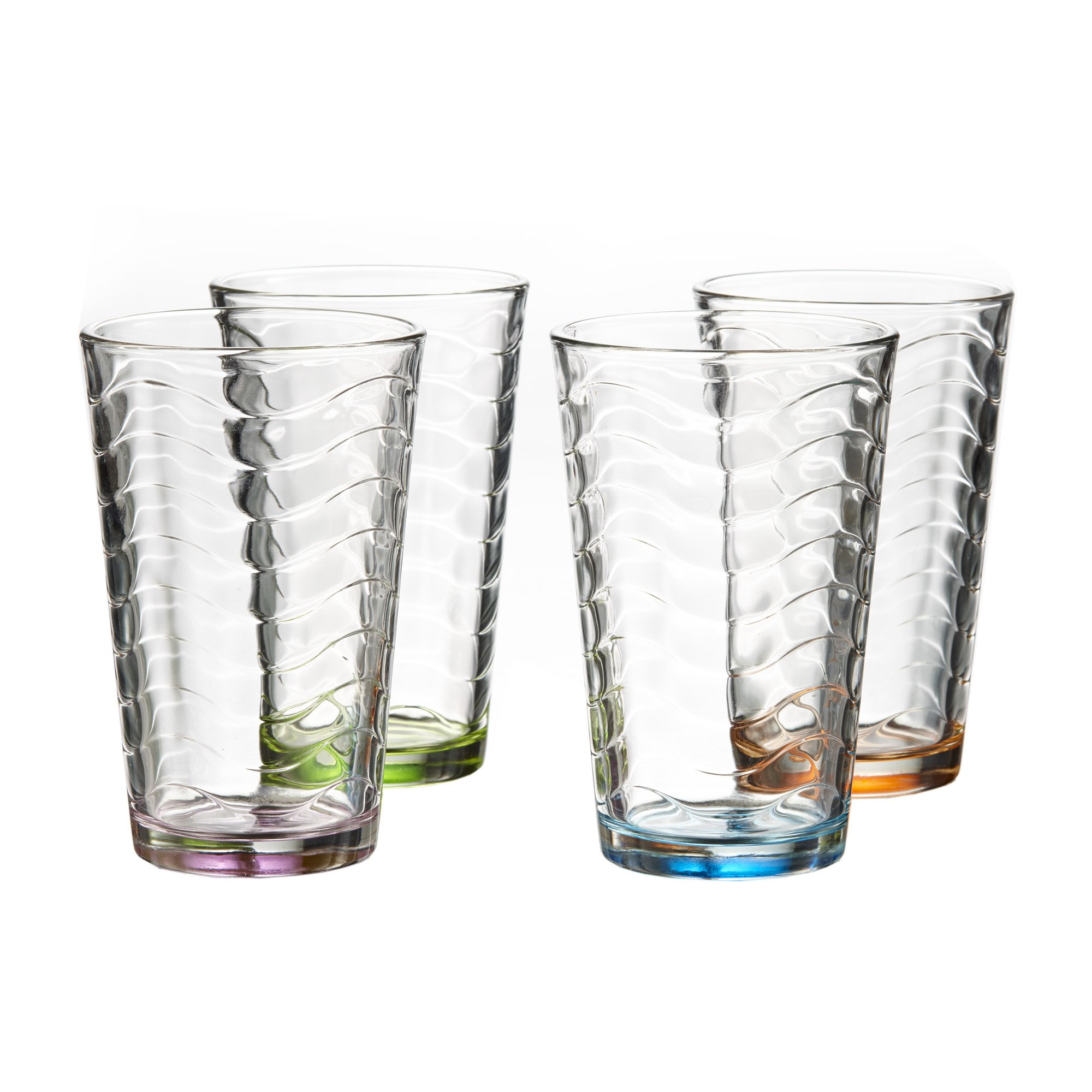 Style Setter 229224-HB-4C Allure Colored Highball Glasses (Set of 4), Multicolor