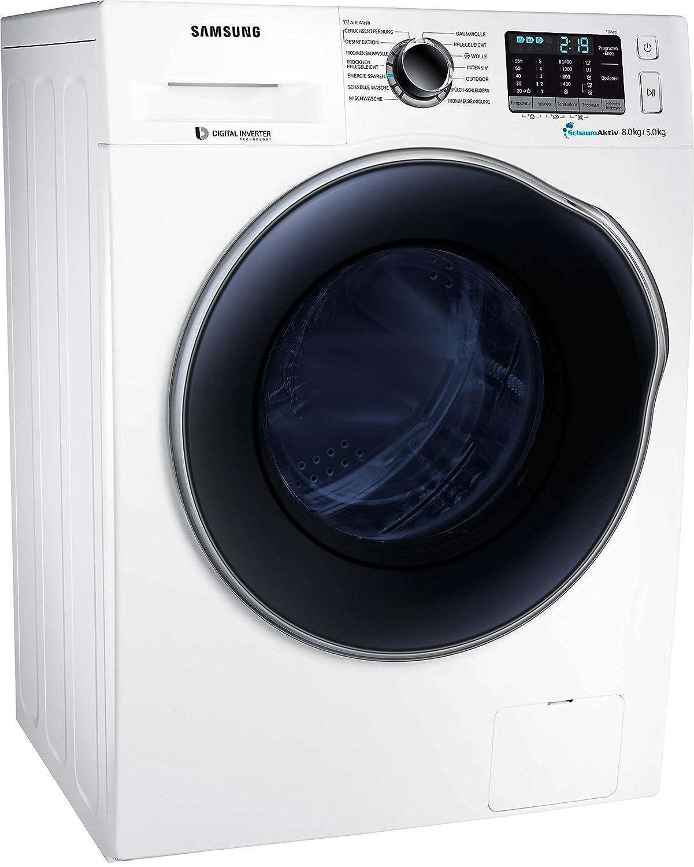 Samsung WD5000 WD81J5A00AW//EG Waschtrockner//a//17600 kWh//Jahr//1400 UpM//8 kg//9600 L//jahr//SchaumAktiv//AirWash//Wei/ß