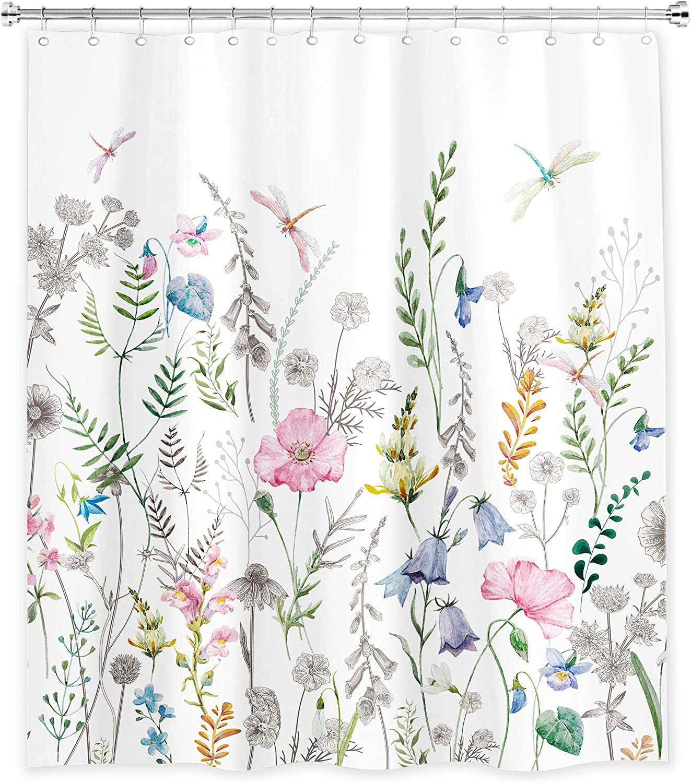 SVBright FlowerShower Curtain Blossom Wild 60Wx72L Inch Dragonfly Spring Garden Plants Natural Watercolor Artwork 12 Pack Hooks Polyester Waterproof Fabric Bathroom Bathtub Panels