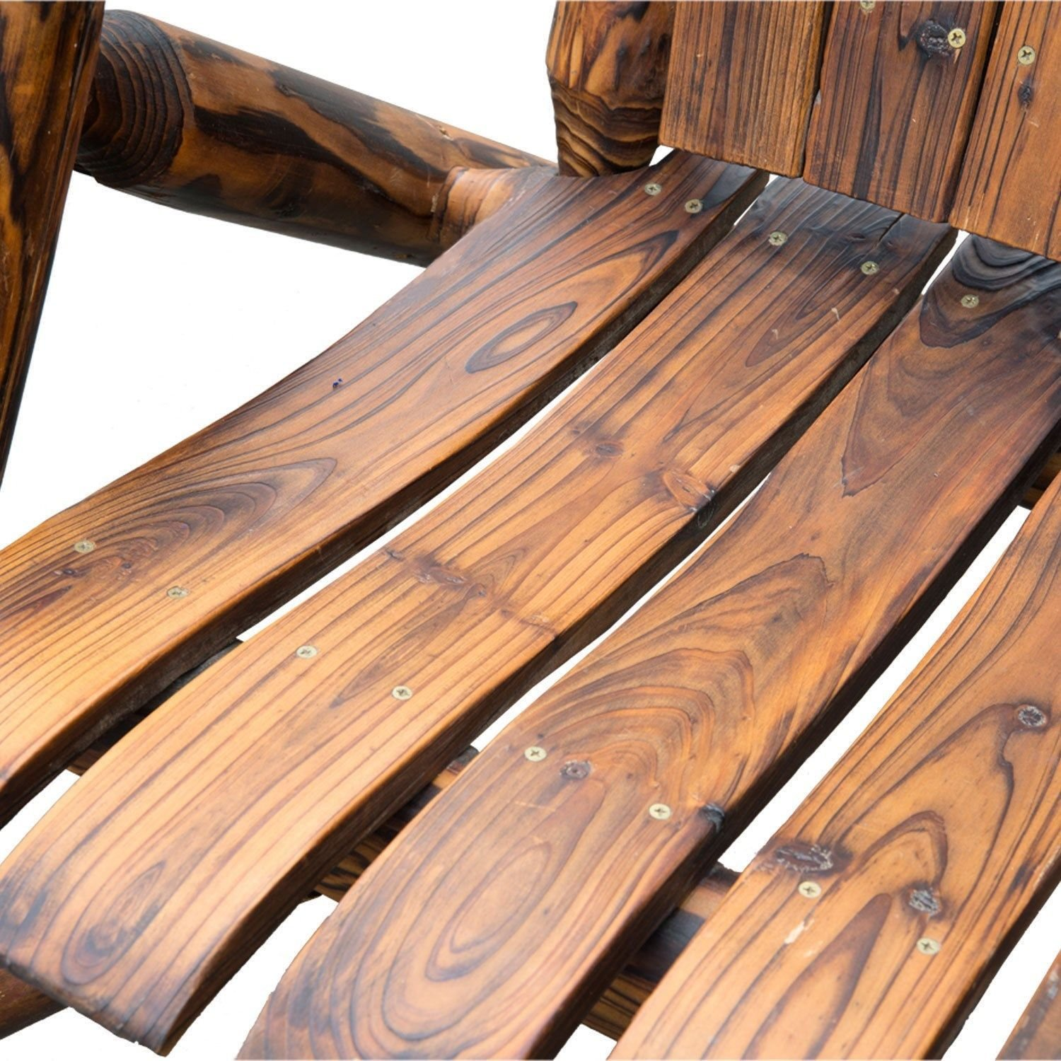 Outsunny Wooden Double Adirondack Chair Loveseat with Ice Bucket - Rustic Brown