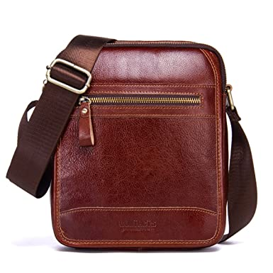Contacts Mens Vegetable Leather Crossbody Single-Shoulder Mini iPad  Shoulder Tab Bag (Red- a9a251cf60