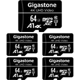 Gigastone 64GB 5-Pack Micro SD Card, 4K UHD Video, Surveillance Security Cam Action Camera Drone Professional, 90MB/s…