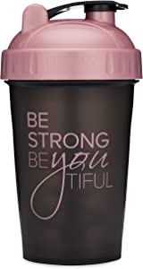 Motivational Quotes on Performa Perfect Shaker Bottle, 20oz Classic Protein Shaker Bottle, Advanced Actionrod Mixing Technology, Dishwasher Safe, Leak Proof (Be Strong - Black/Rose - 20oz)