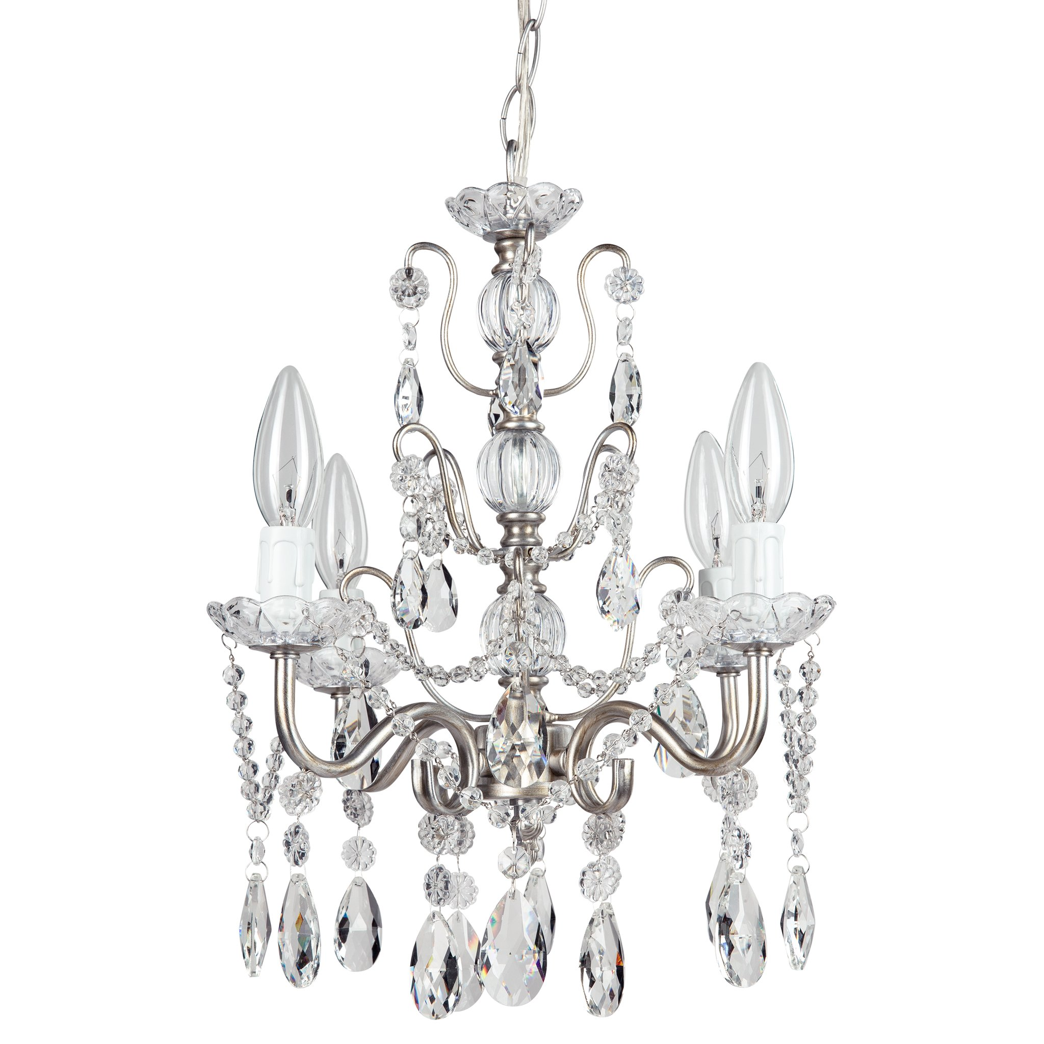 Madeleine Vintage Silver Crystal Chandelier, Mini Swag Plug-In Glass Pendant 4 Light Wrought Iron Ceiling Lighting Fixture Lamp
