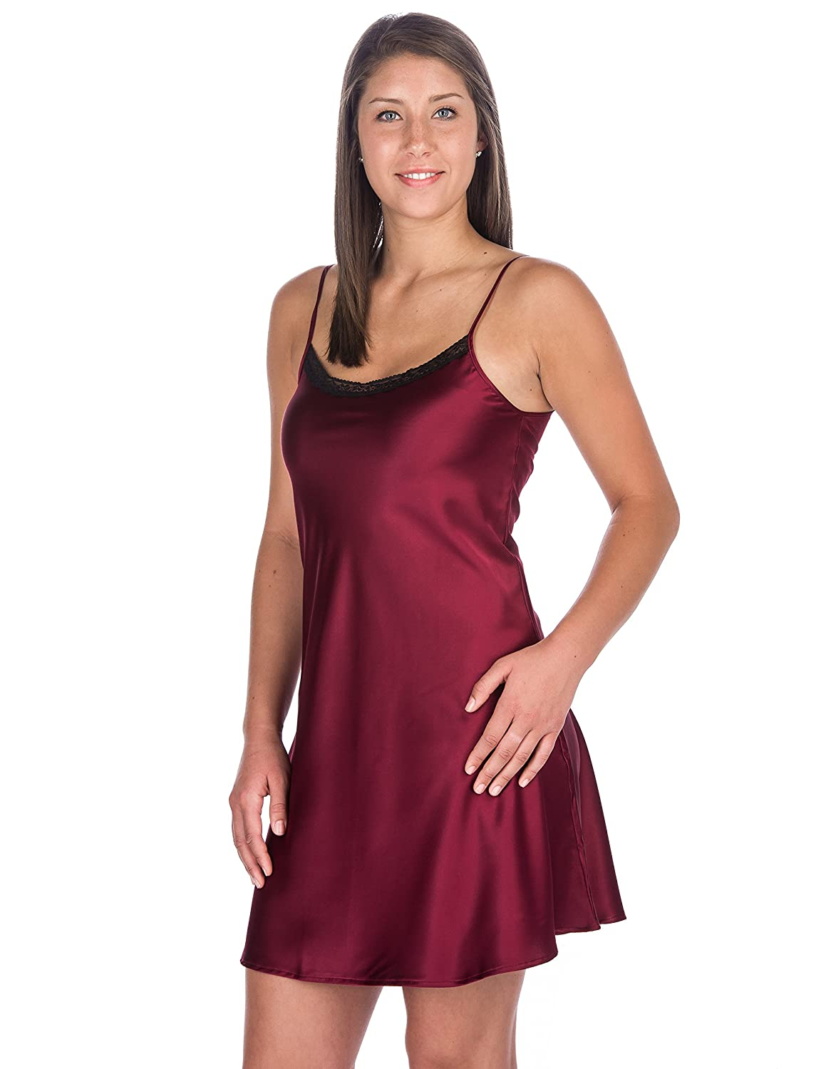 Noble Mount Womens Premium Satin Chemise/Nightgown with lace accent