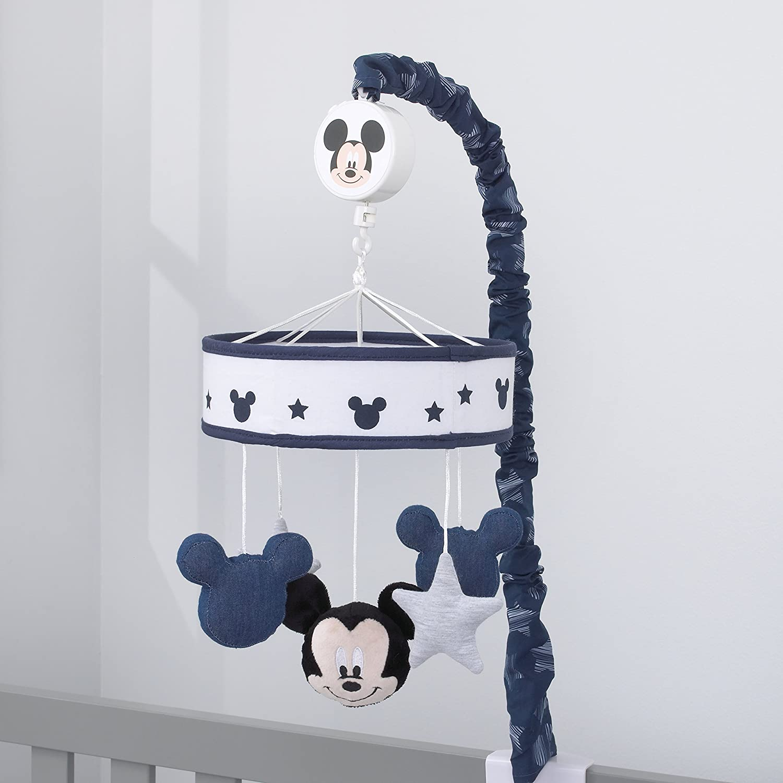 Disney Mickey Mouse Hello World Star/Icon Nursery Crib Musical Mobile, Navy, White, Grey