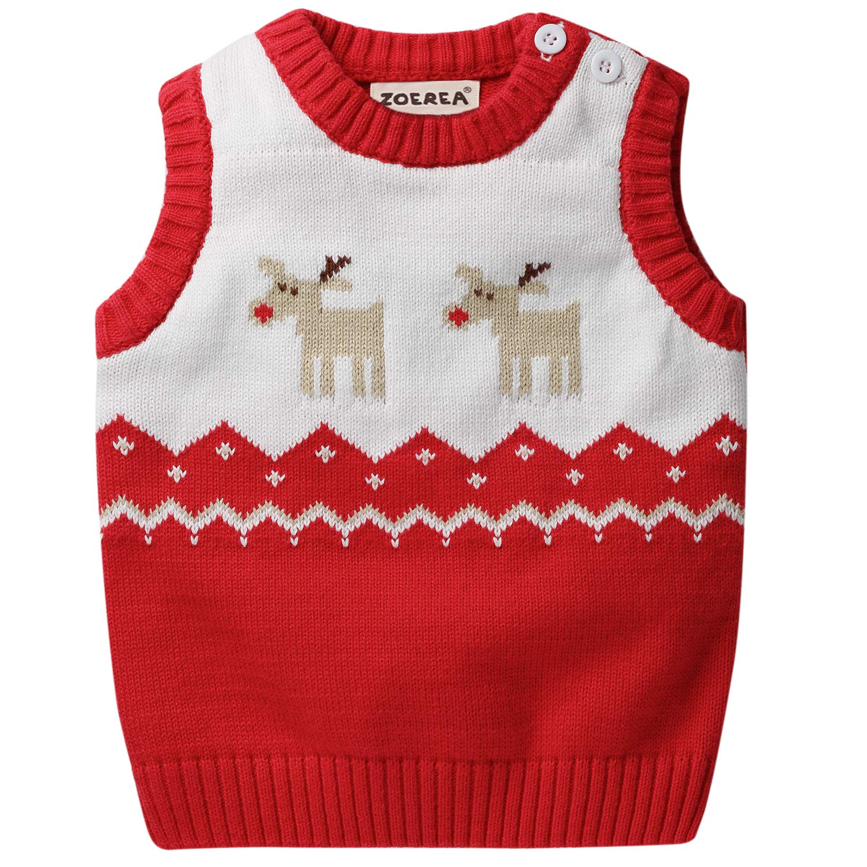 ZOEREA Baby Sweater Vest Boys Girls Toddler Warm Waistcoat Newborn Cute Elk Round-Neck Knitting Pattern Infant Gilets Coat Clothes Z297