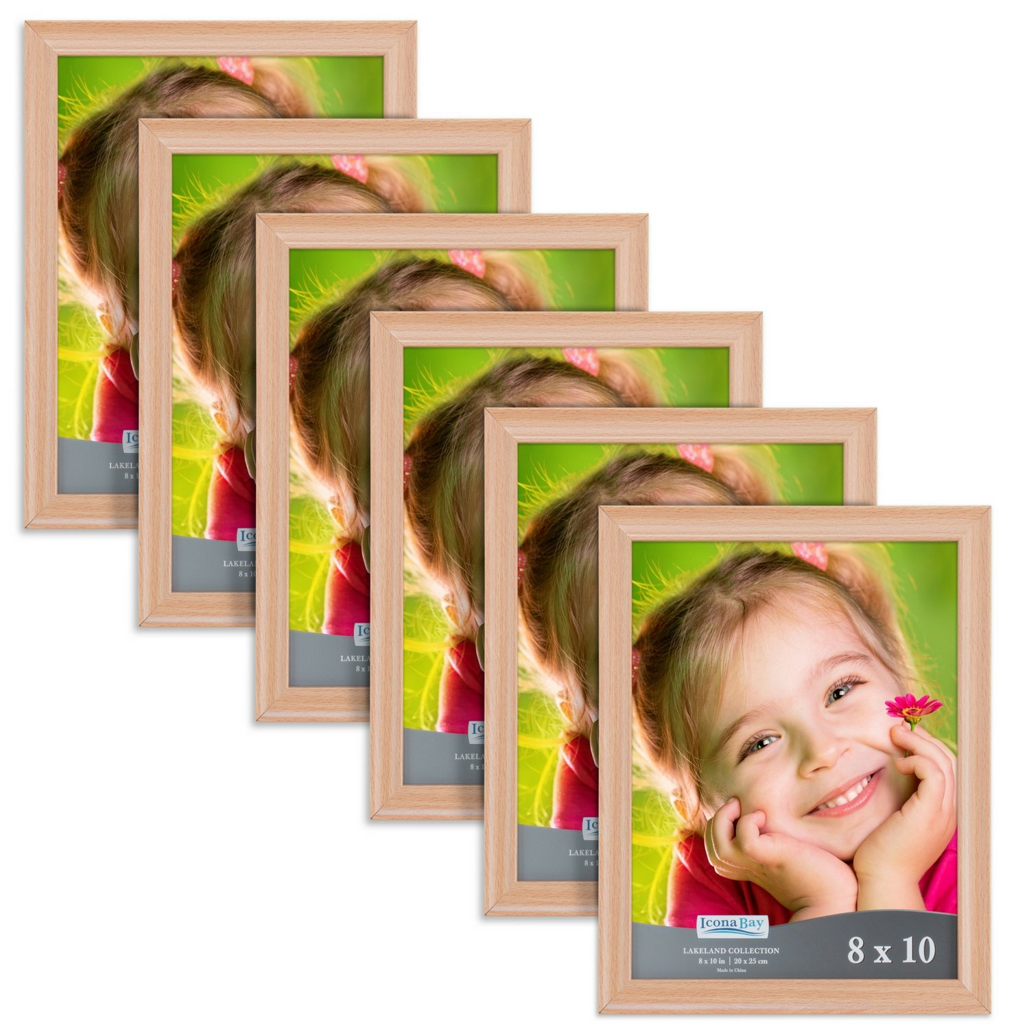 Icona Bay 8x10 Picture Frame (6 Pack, Beechwood Finish), Photo Frame 8 x 10, Composite Wood Frame for Walls or Tables, Set of 6 Lakeland Collection by Icona Bay