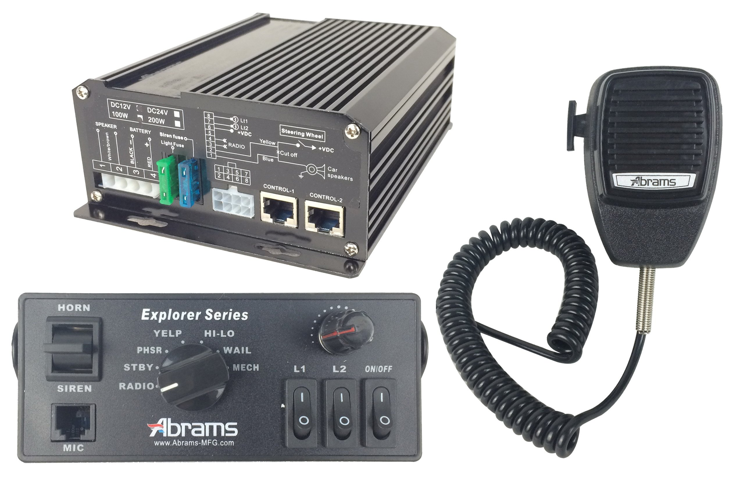 ABRAMS EXP-ULTRA-KIT/100-C Explorer 100W Console Mount Siren System Set with Mechanical Tones, Comes with PA Mircophone & 100W Ultra Siren Speaker by Abrams