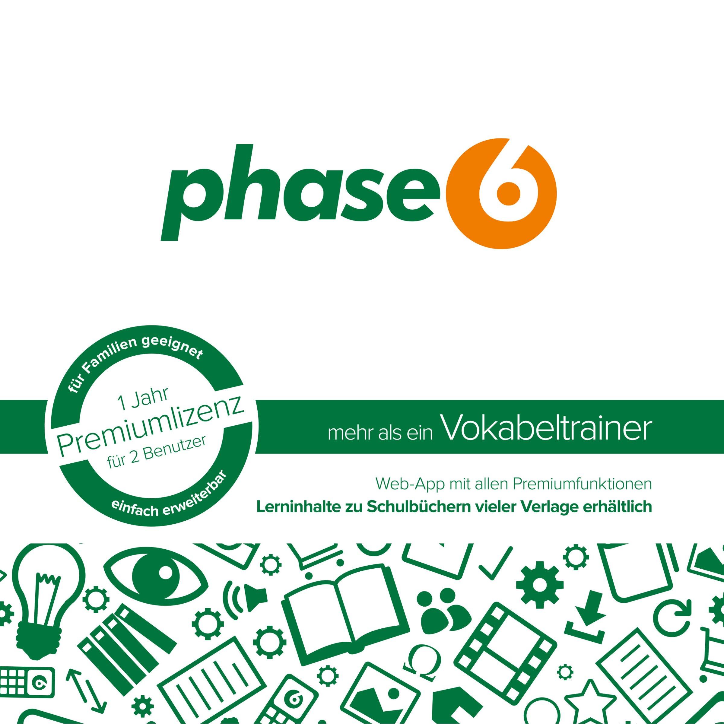 phase6 - mehr als ein Vokabeltrainer - Schachtel mit Codekärtchen und Infobroschüre: 1 Jahr Premiumlizenz für 2 Benutzer
