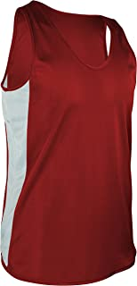 product image for TR-980-CB Men's Performance Athletic Light Single Ply Track Singlet with Side Panels (Small, Red/White)