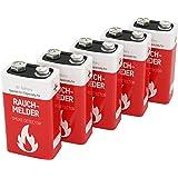 5 piles Lithium -format 9V- ANSMANN pour détecteur de fumée/stockage jusqu´á 10 ans/excellente qualité/idéal pour les détecteurs d'incendie, les systèmes d'alarme & les appareils médicaux