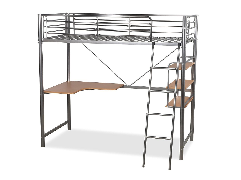 Humza Amani Upton High Sleeper/Study Bunk Bed Frame in Silver Metal Finish