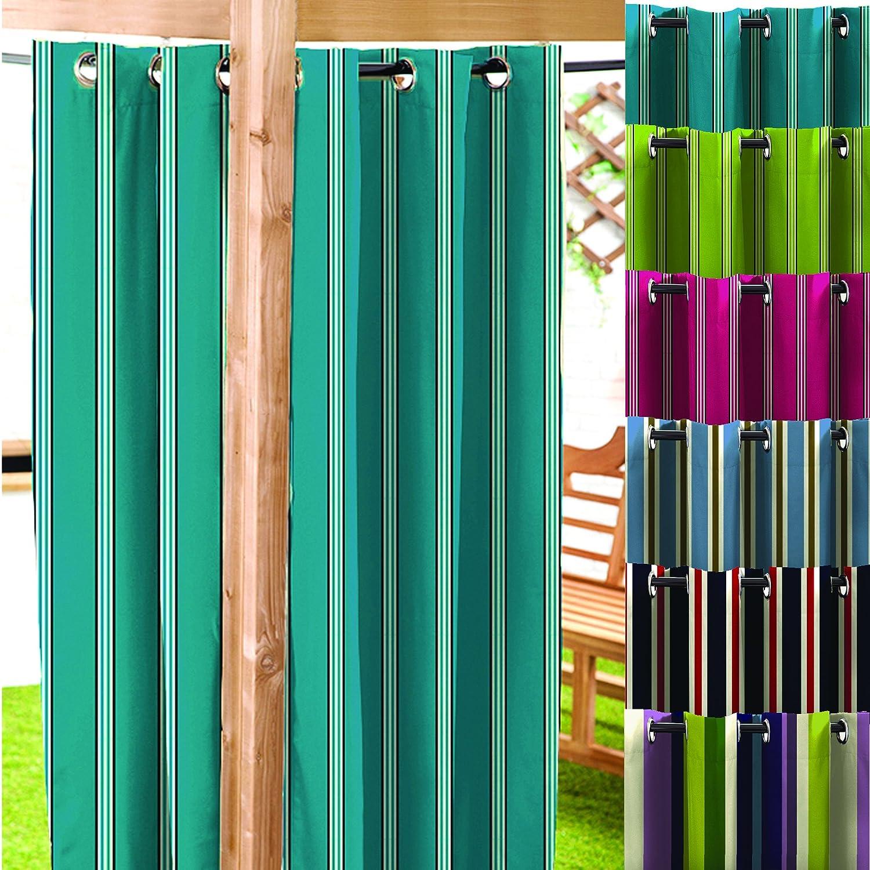 Blue / Stone Stripe Water Resistant Garden Eyelet Curtain Panel 55