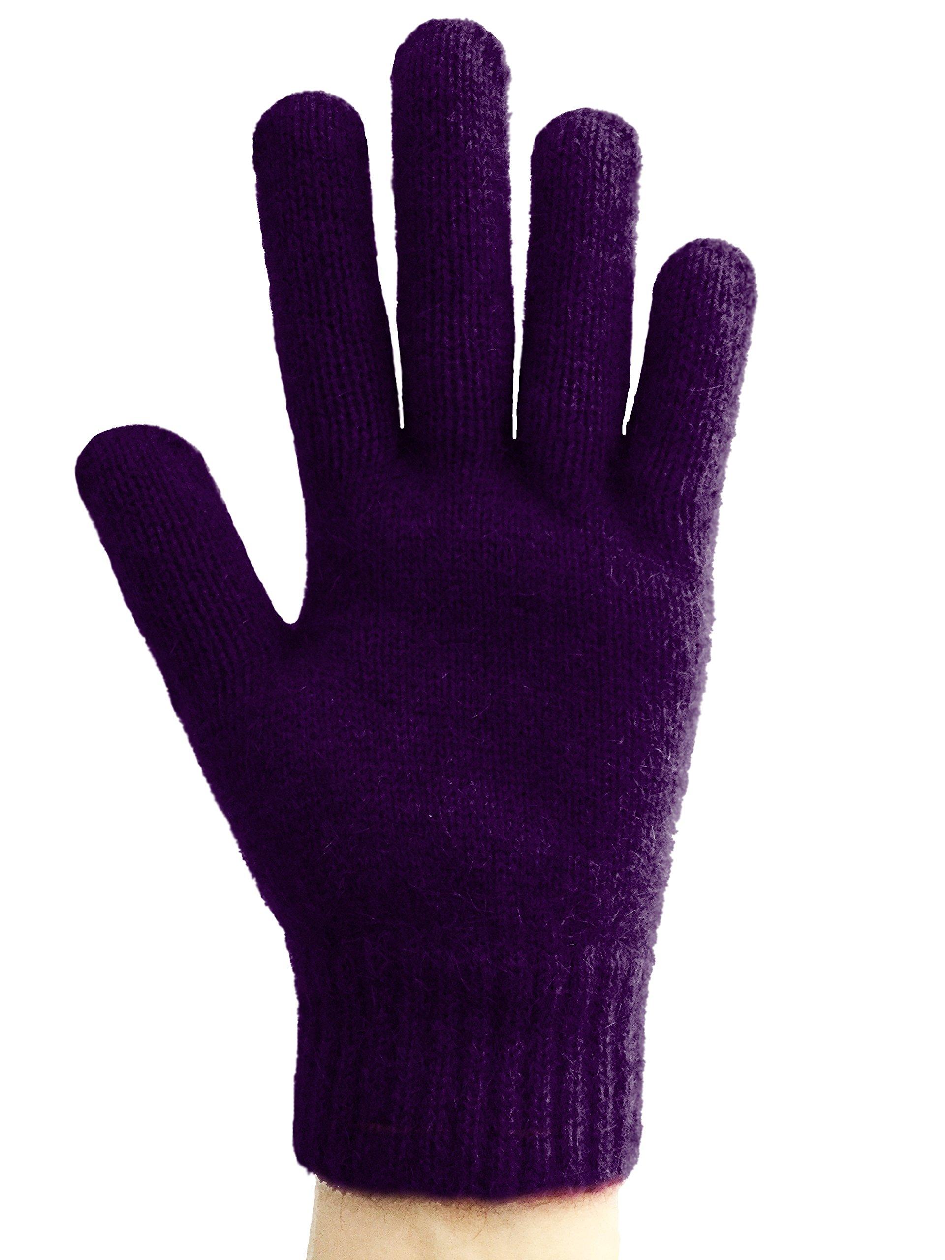 PossumDown Lightweight Brushtail Possum Merino Wool Blend Gloves (Small, Amethyst)