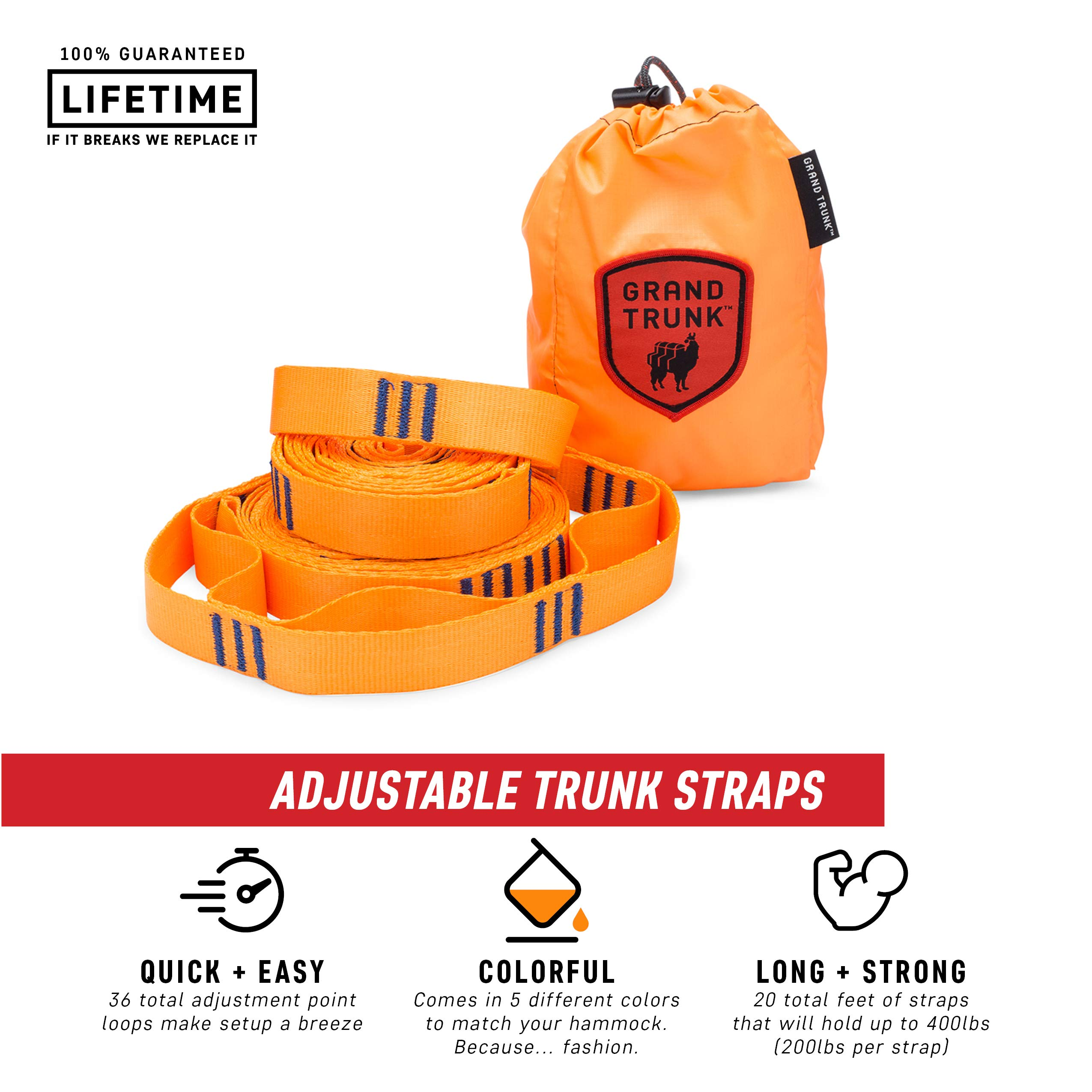 Grand Trunk Hammock Suspension System Trunk Straps, Orange, One Size by Grand Trunk