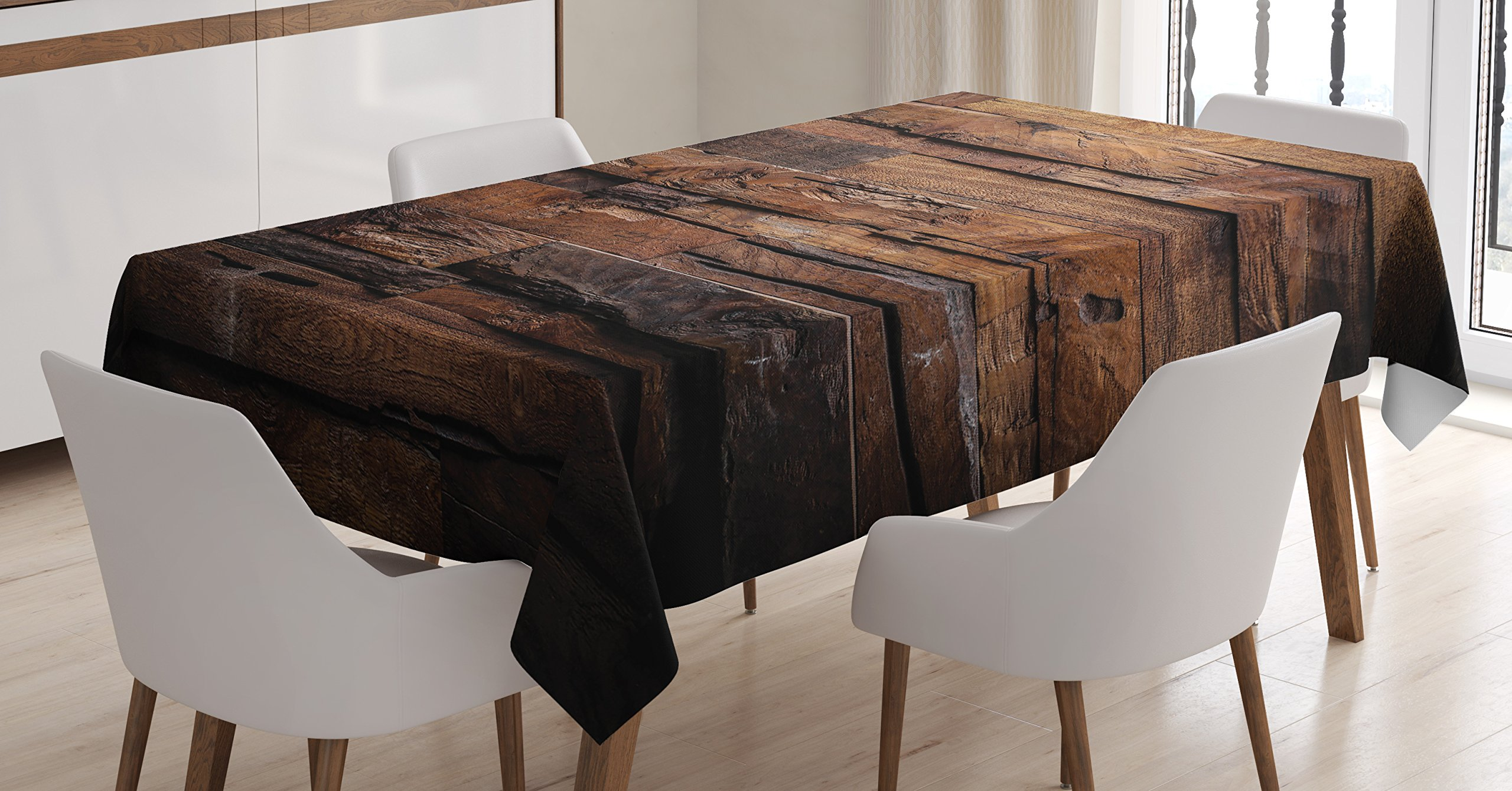 Ambesonne Chocolate Tablecloth, Rough Dark Timber Texture Image Rustic Country Theme Hardwood Carpentry, Dining Room Kitchen Rectangular Table Cover, 60 W X 84 L inches, Brown Dark Brown by Ambesonne (Image #1)